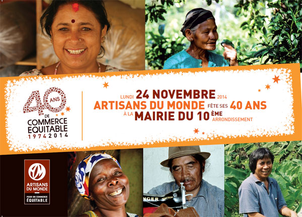 Artisans du Monde fête ses 40 ans le lundi 24 novembre 2014 à la mairie du 10ème arrondissement.